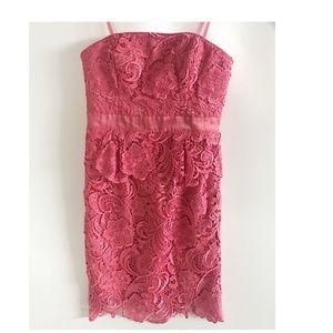 Cache Coral Lace Strapless Peplum Dress Size-4